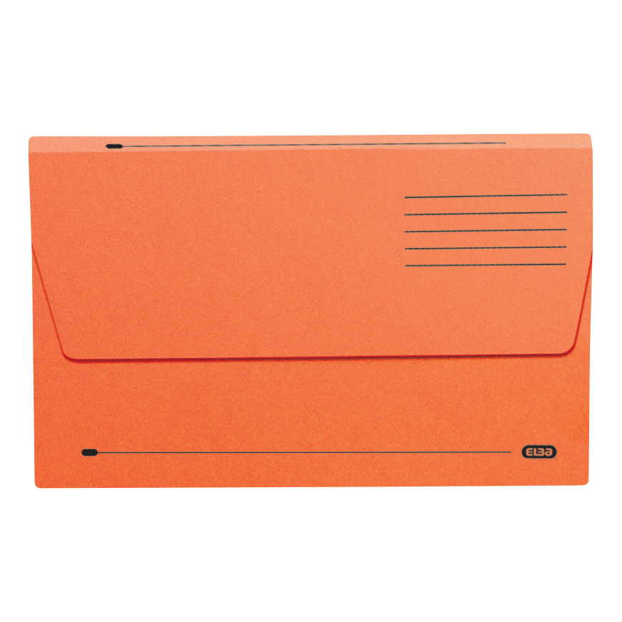 Elba Document Wallet Half Flap 285gsm Capacity 32mm Foolscap Orange Ref 100090241 Pack 50