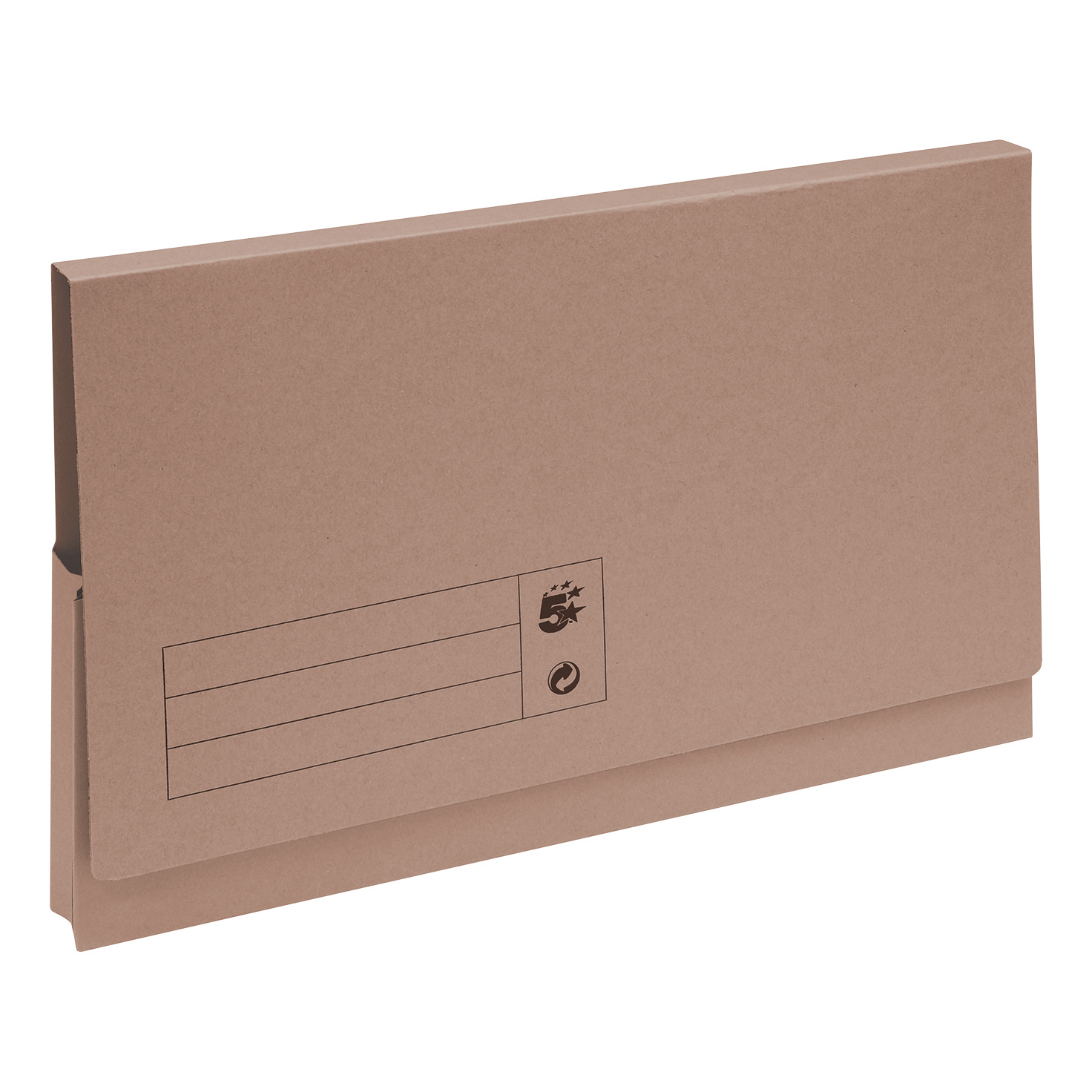 5 Star Office Document Wallet Full Flap 285gsm Recycled Capacity 32mm Foolscap Buff Pack 50
