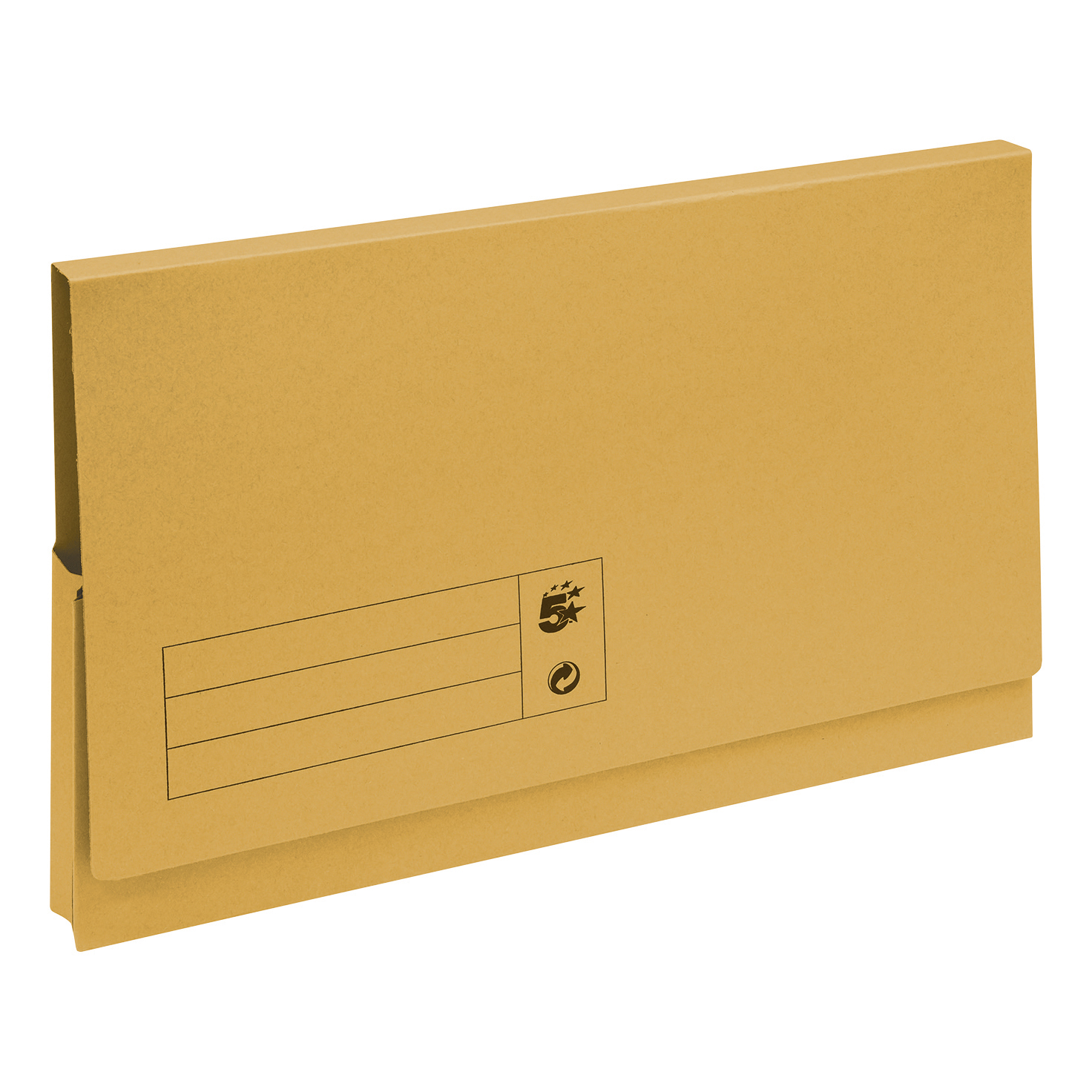 5 Star Office Document Wallet Full Flap 285gsm Recycled Capacity 32mm Foolscap Yellow Pack 50