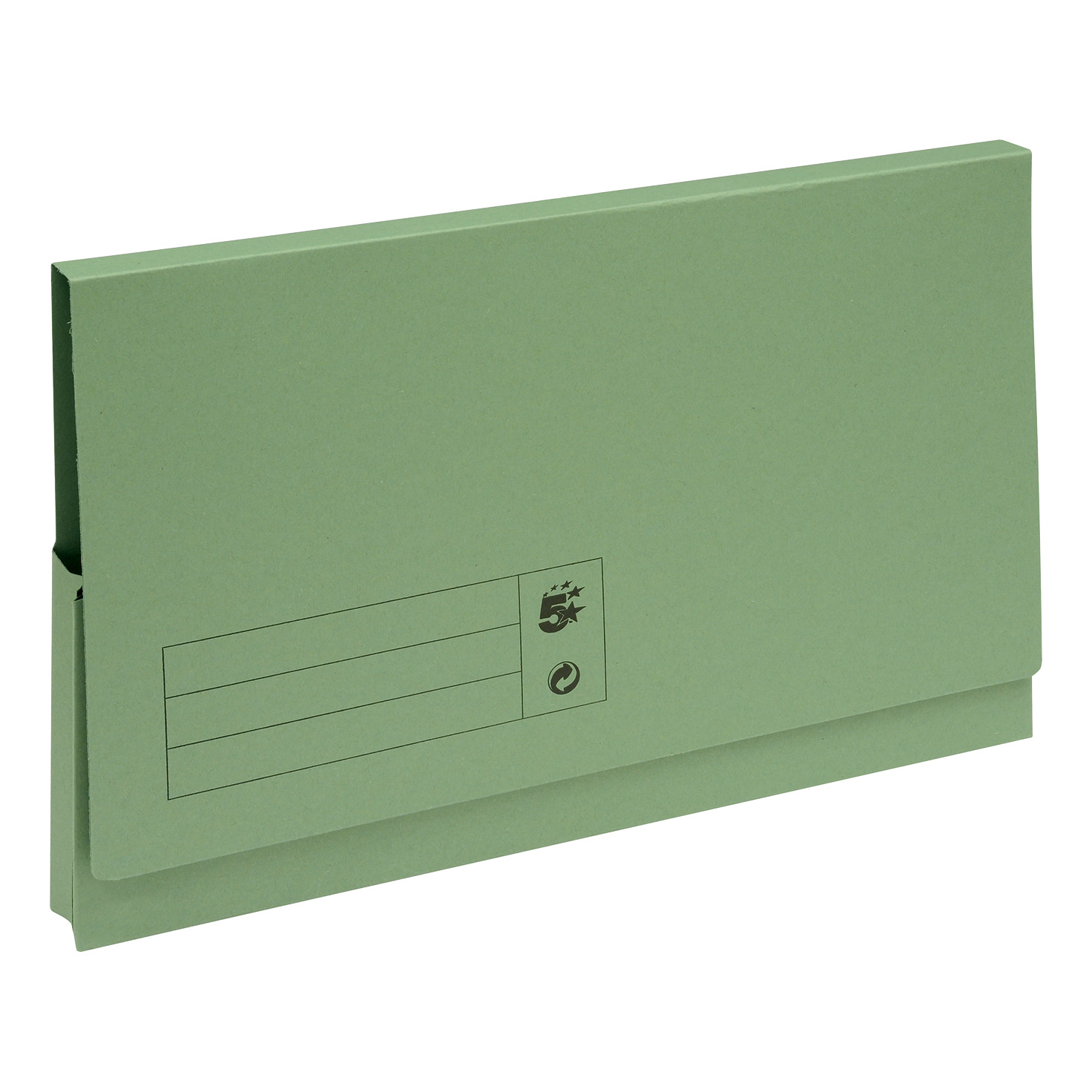 5 Star Office Document Wallet Full Flap 285gsm Recycled Capacity 32mm Foolscap Green Pack 50