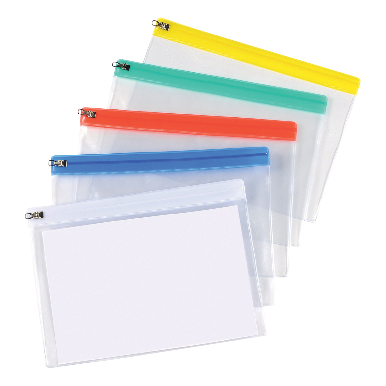 5 Star Office Zip Filing Bags PVC Clear Front with Coloured Seal A5 Assorted [Pack 30]