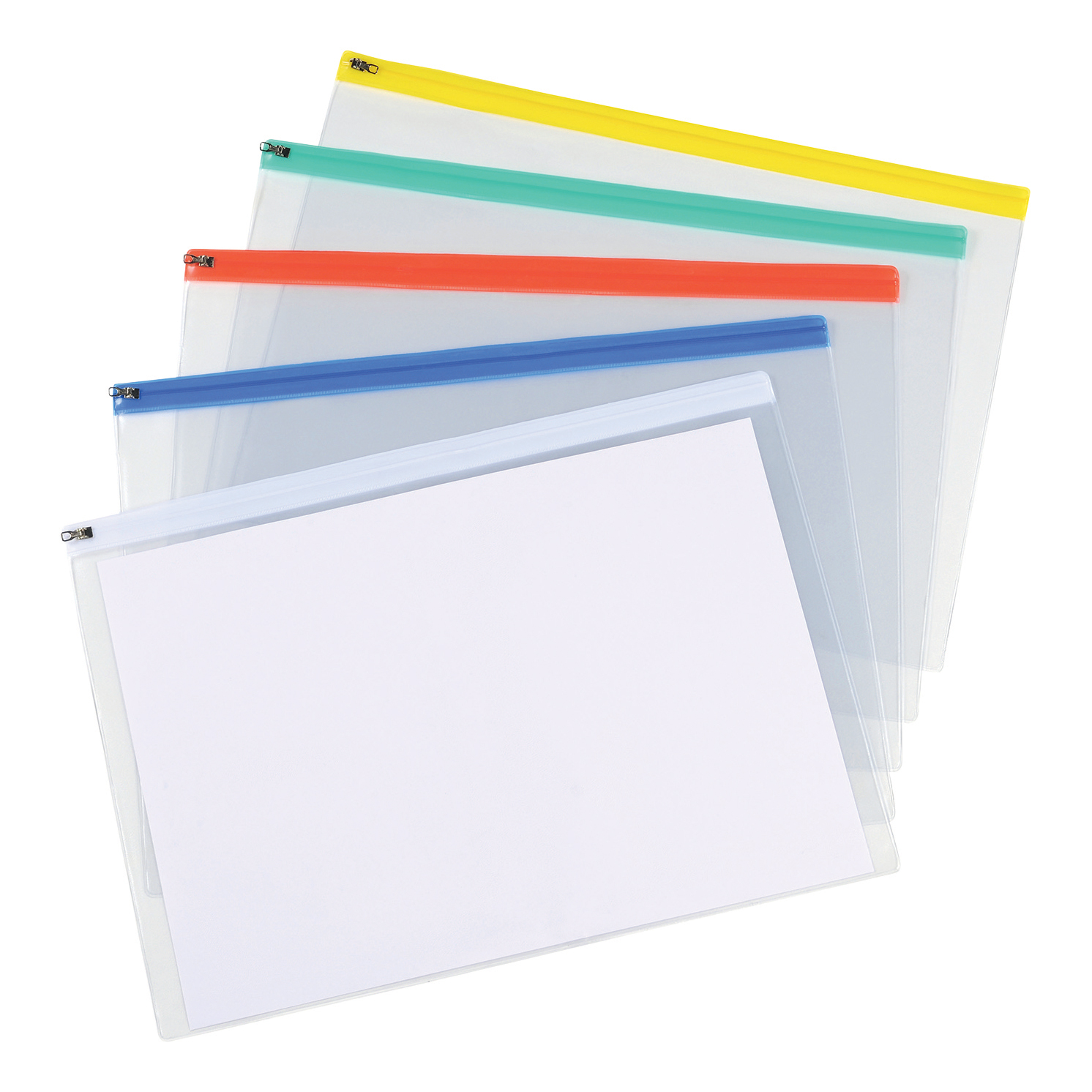 Zip Bags 5 Star Office Zip Filing Bags Clear Front with Coloured Seal A3 Assorted Pack 5