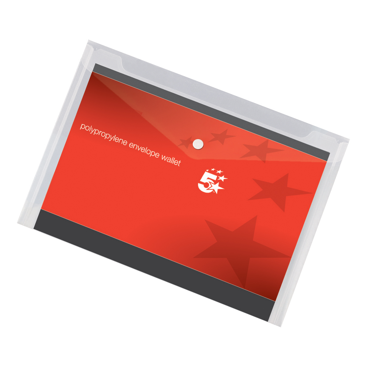 5 Star Office Envelope Stud Wallet Polypropylene A4 Transparent Clear [Pack 5]