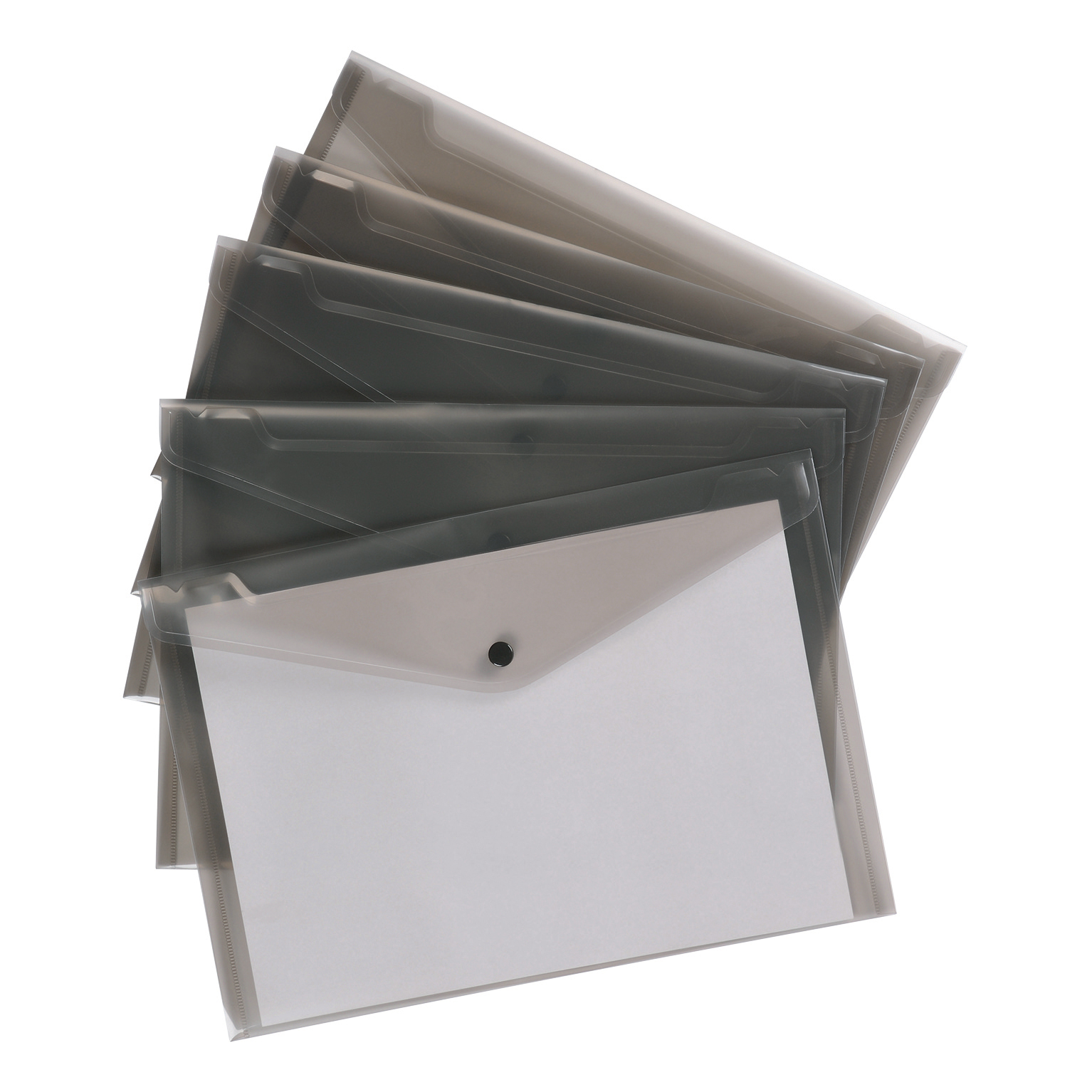 5 Star Office Envelope Stud Wallet Polypropylene A4 Translucent Smoke [Pack 5]
