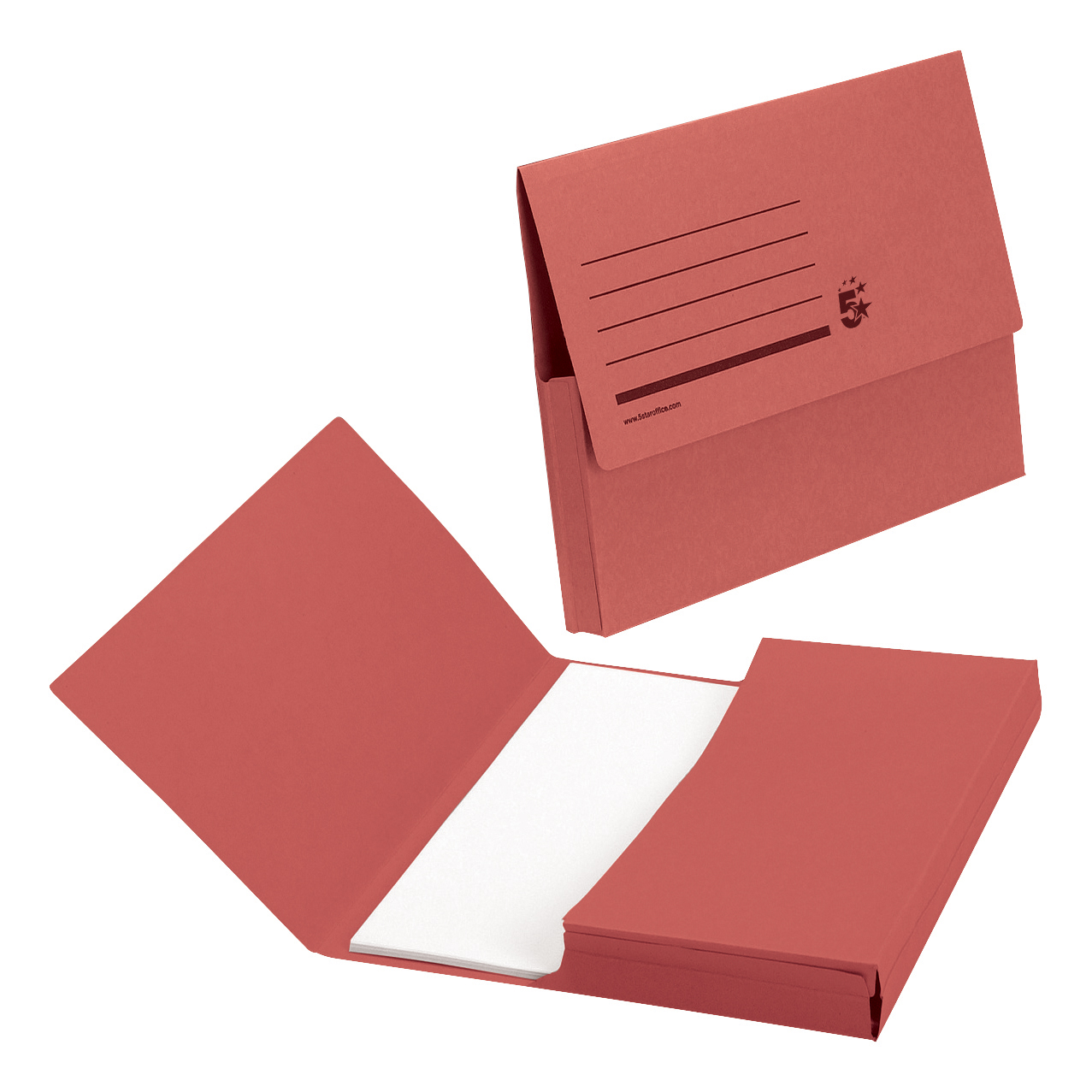 5 Star Office Document Wallet Half Flap 285gsm Recycled Capacity 32mm A4 Red [Pack 50]