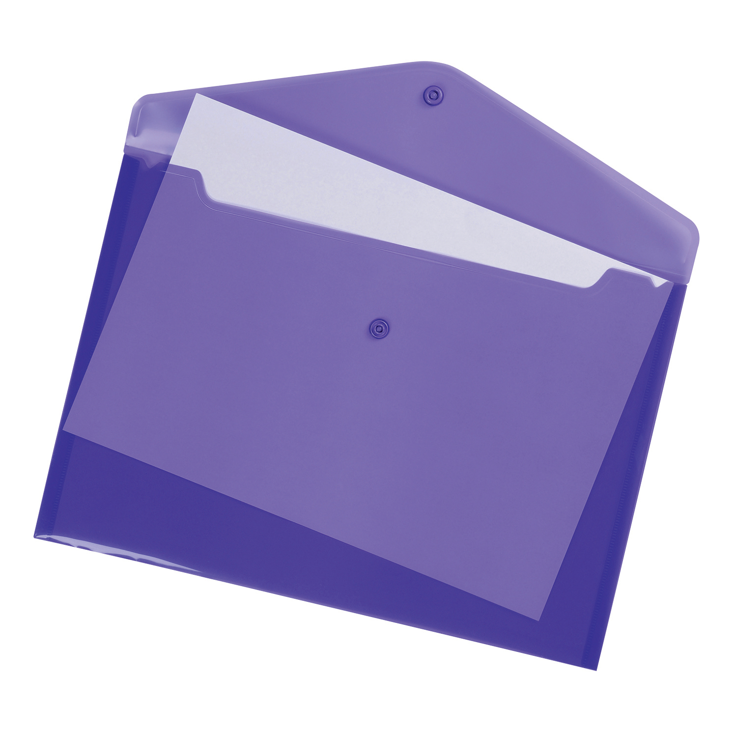 Popper Wallets 5 Star Office Envelope Stud Wallet Polypropylene A4 Translucent Purple Pack 5
