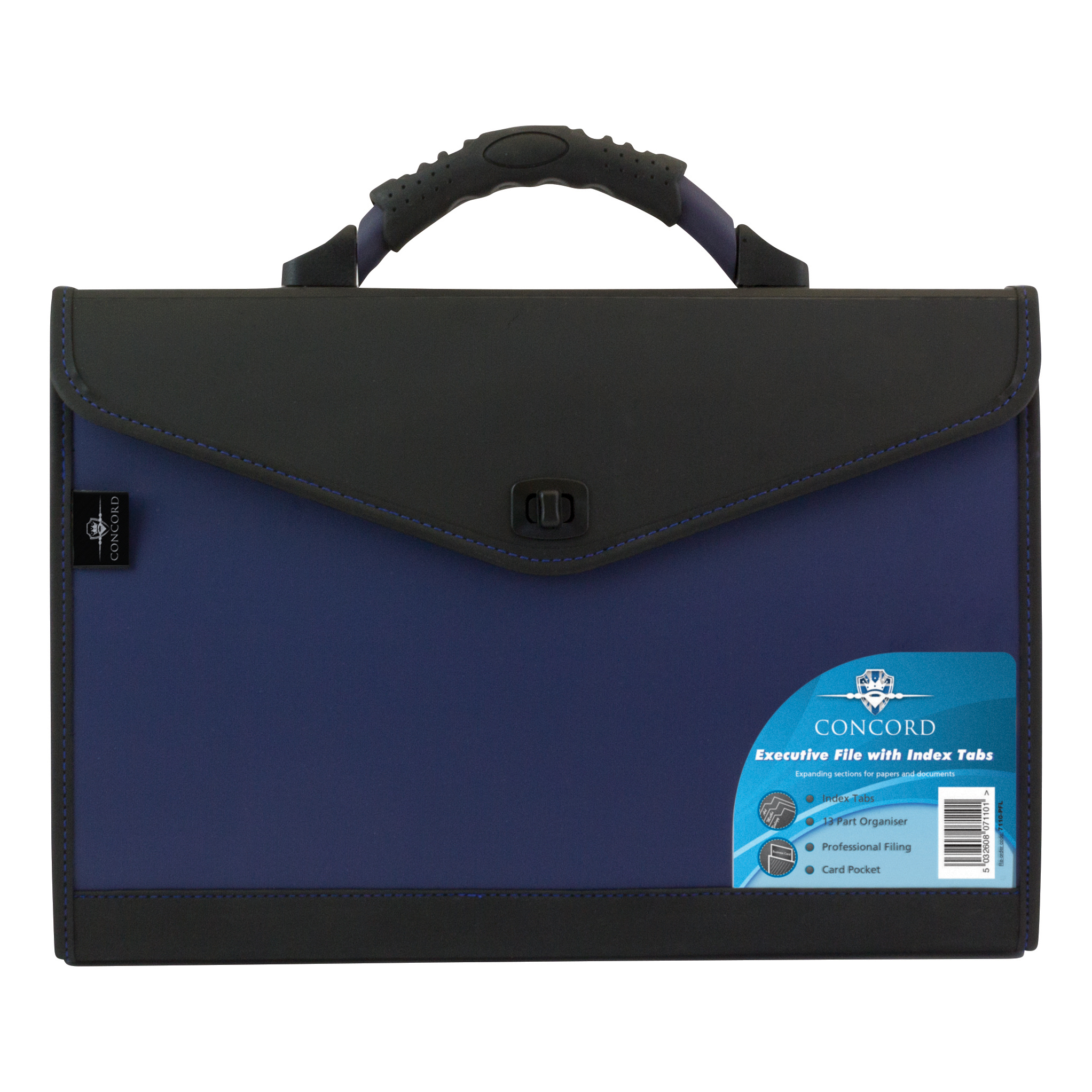 Concord Expanding Organiser File Polypropylene 13 Part Foolscap Blue and Black Ref 7110-PFL