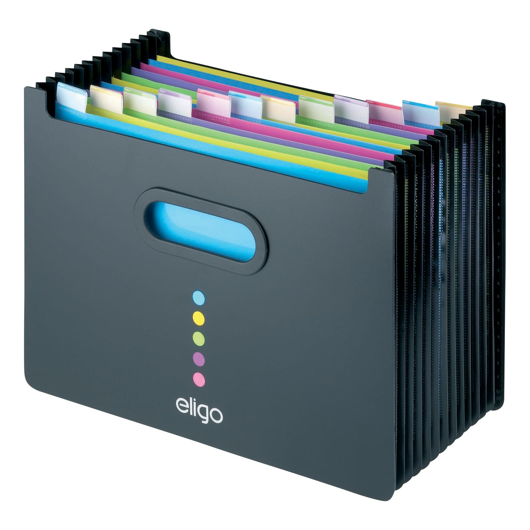 Expanding Files Snopake Eligo Desk Organiser Expanding Polypropylene 13-Part Landscape Black Ref 15174