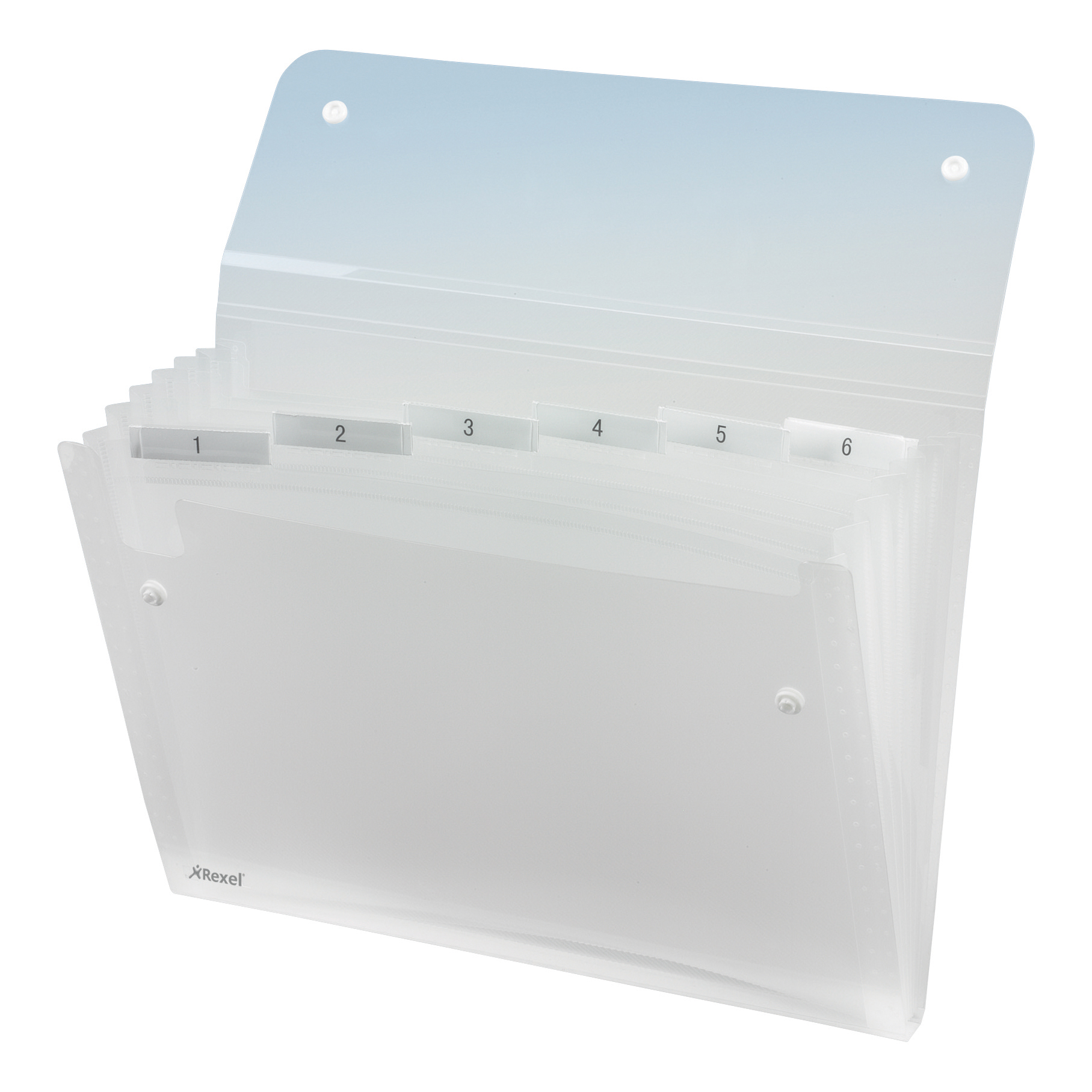 Expanding Files Rexel Ice Expanding File Durable Polypropylene 6 Pocket Stud Closure A4 Clear Ref 2102033