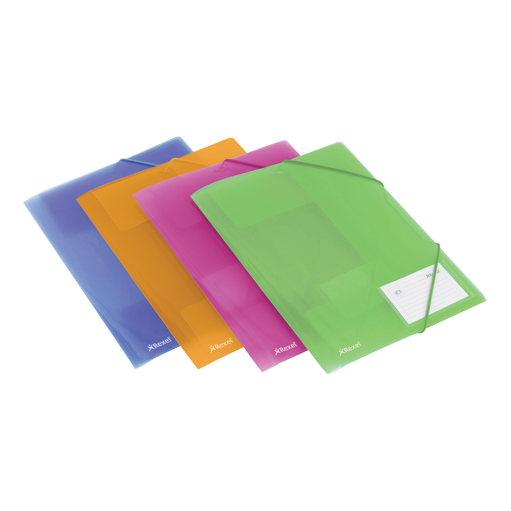Rexel Ice File 4-Fold Polypropylene Elasticated for 200 Sheets A4 Assorted Ref 2102050 [Pack 4]