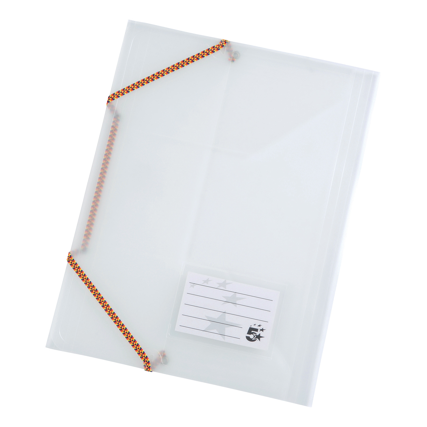 5 Star Office 3 Flap Elasticated File Polypropylene A4 Translucent Pack 5