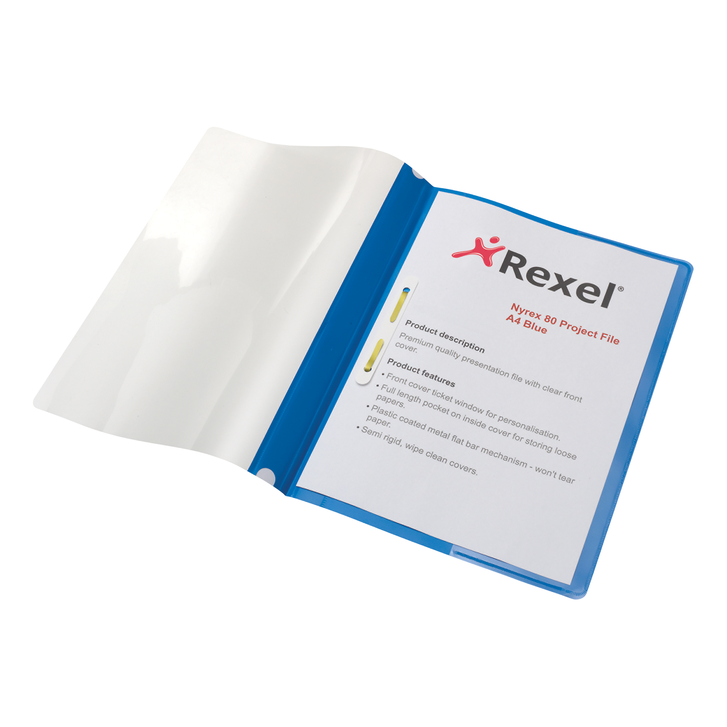 Rexel Nyrex Project Flat Bar File Semi-rigid Plastic Clear Front A4 Blue Ref 13045BU Pack 5