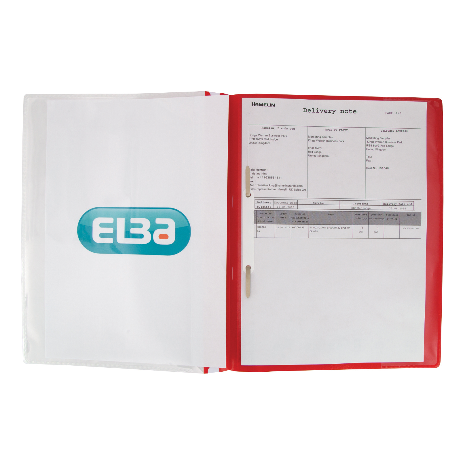 Elba A4+ Report File Capacity 160 Sheets Clear Front A4 Red Ref 400055038 Pack 25