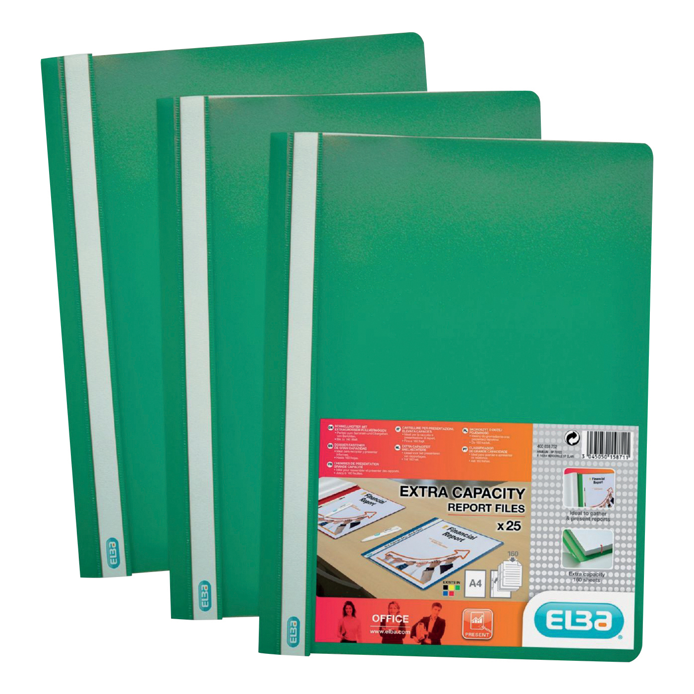 Clip Files Elba Report Folder Capacity 160 Sheets Clear Front A4 Green Ref 400055031 Pack 50
