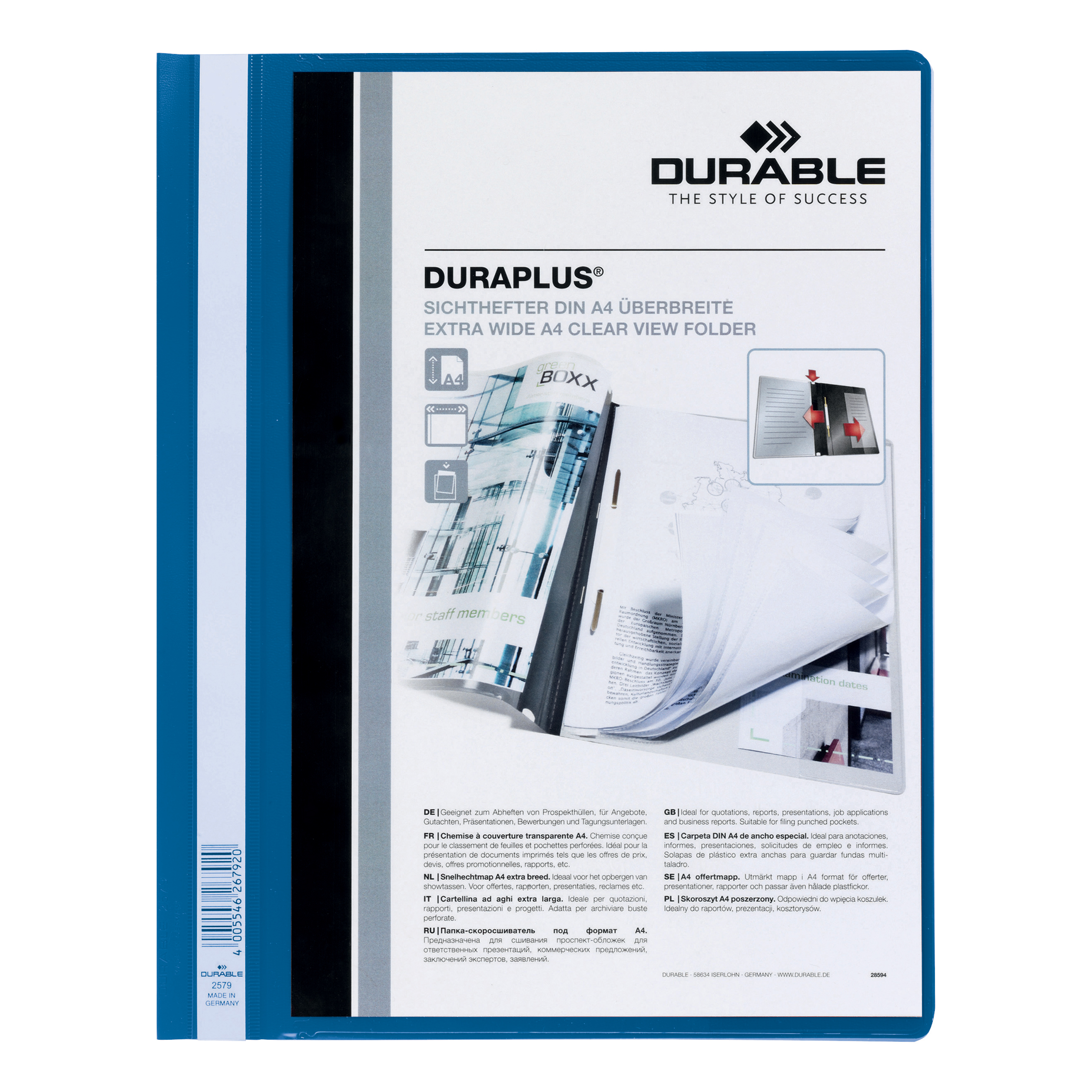 Durable Duraplus Quotation Filing Folder with Clear Title Pocket PVC A4+ Blue Ref 2579/06 [Pack 25]
