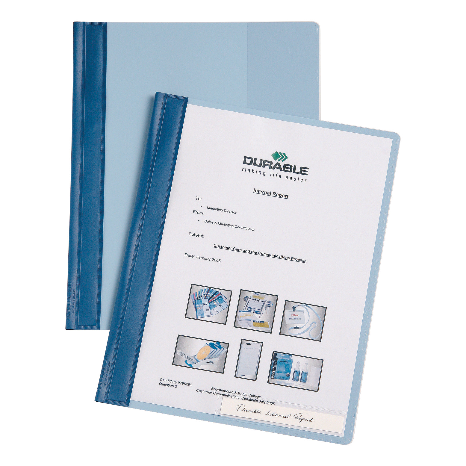 Durable Management Flat Bar File PVC Clear Front A4 Plus Blue Ref 2510/06 [Pack 25]