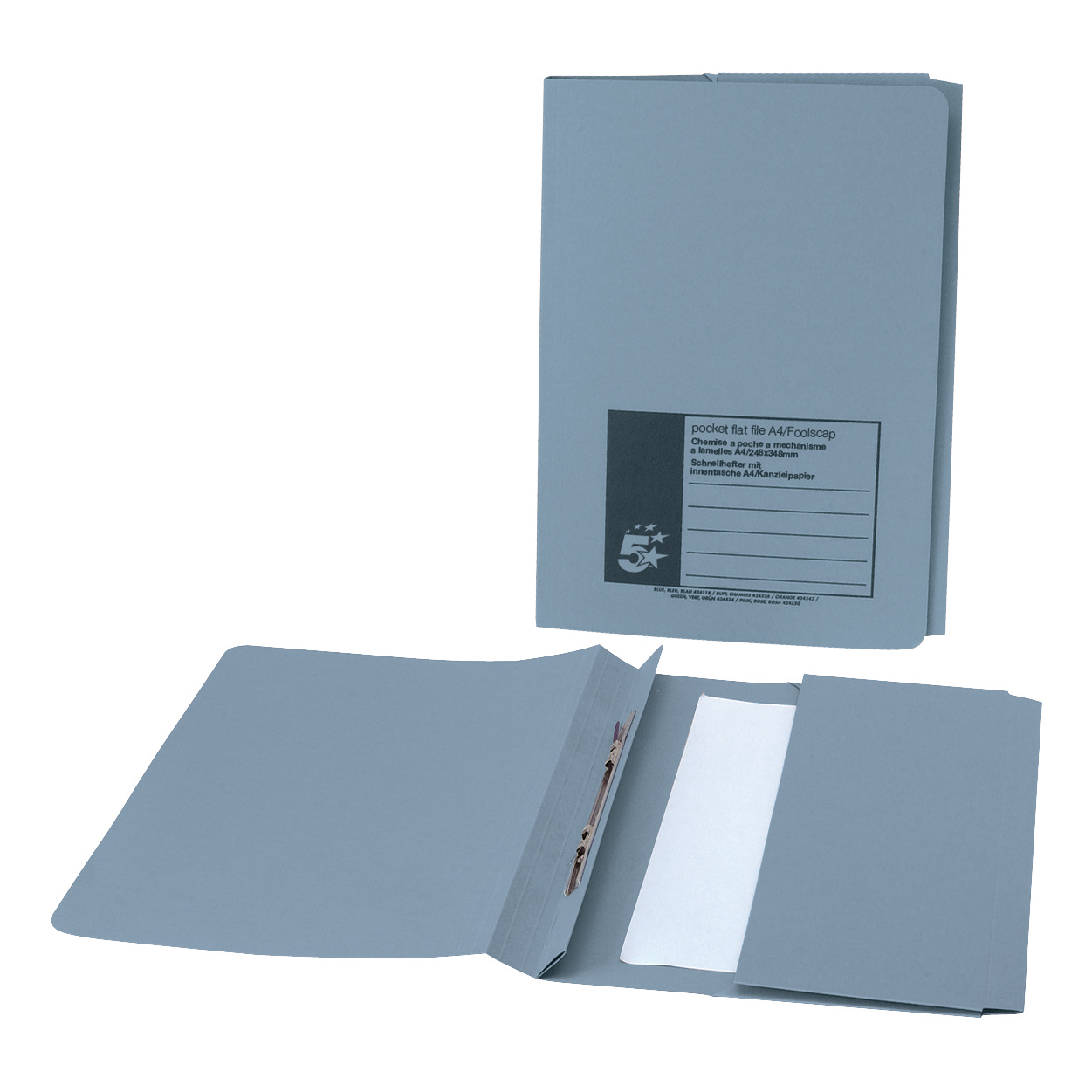 Clip Files 5 Star Office Flat Bar Pocket File Recycled Manilla 285gsm Capacity 200 Sheets Foolscap Blue Pack 25