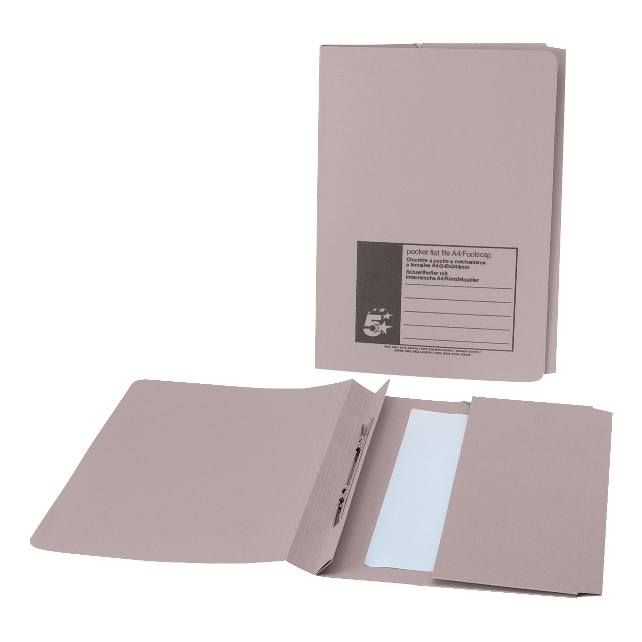 5 Star Office Flat Bar Pocket File Recycled Manilla 285gsm Capacity 200 Sheets Foolscap Buff Pack 25