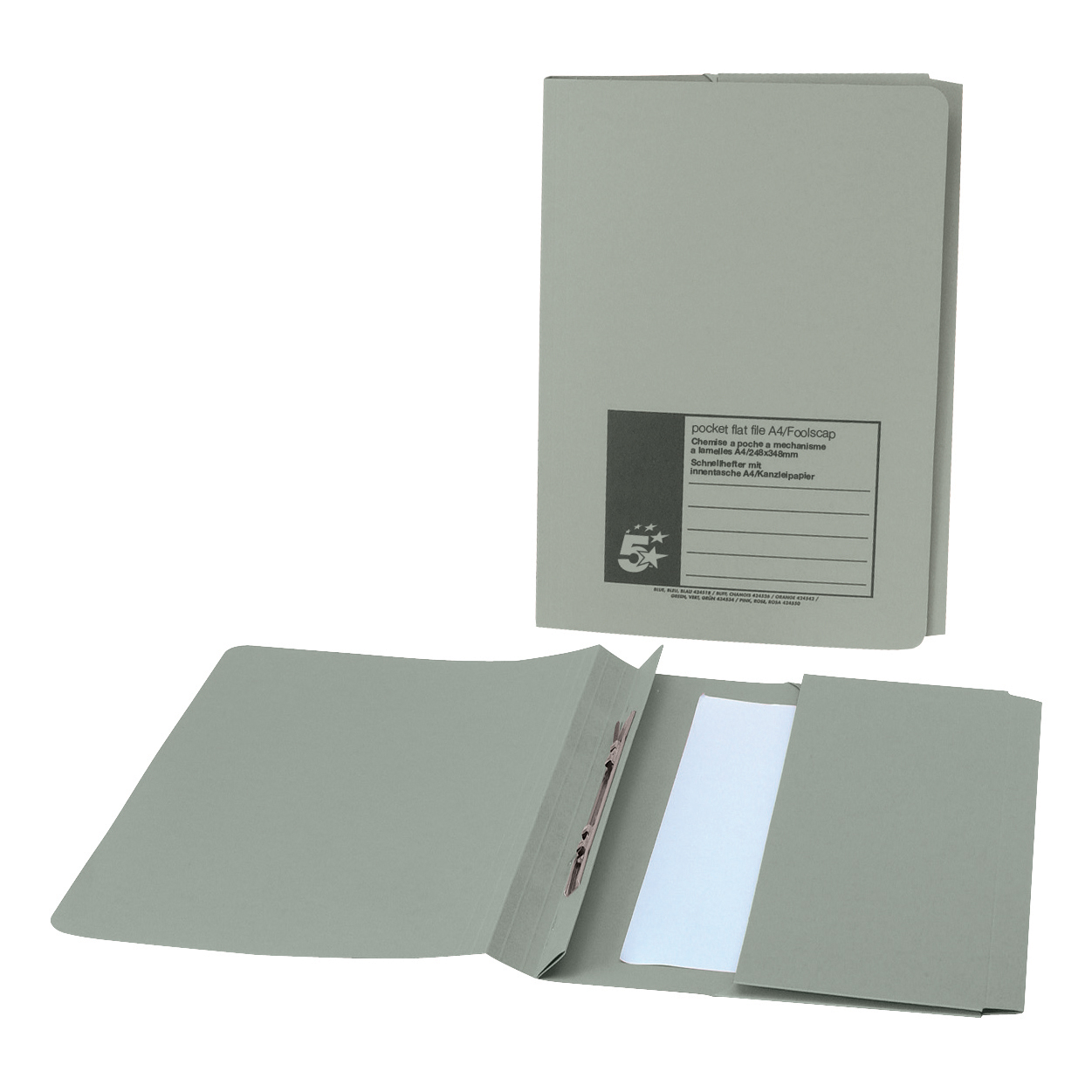 5 Star Office Flat Bar Pocket File Recycled Manilla 285gsm Capacity 200 Sheets Foolscap Green Pack 25