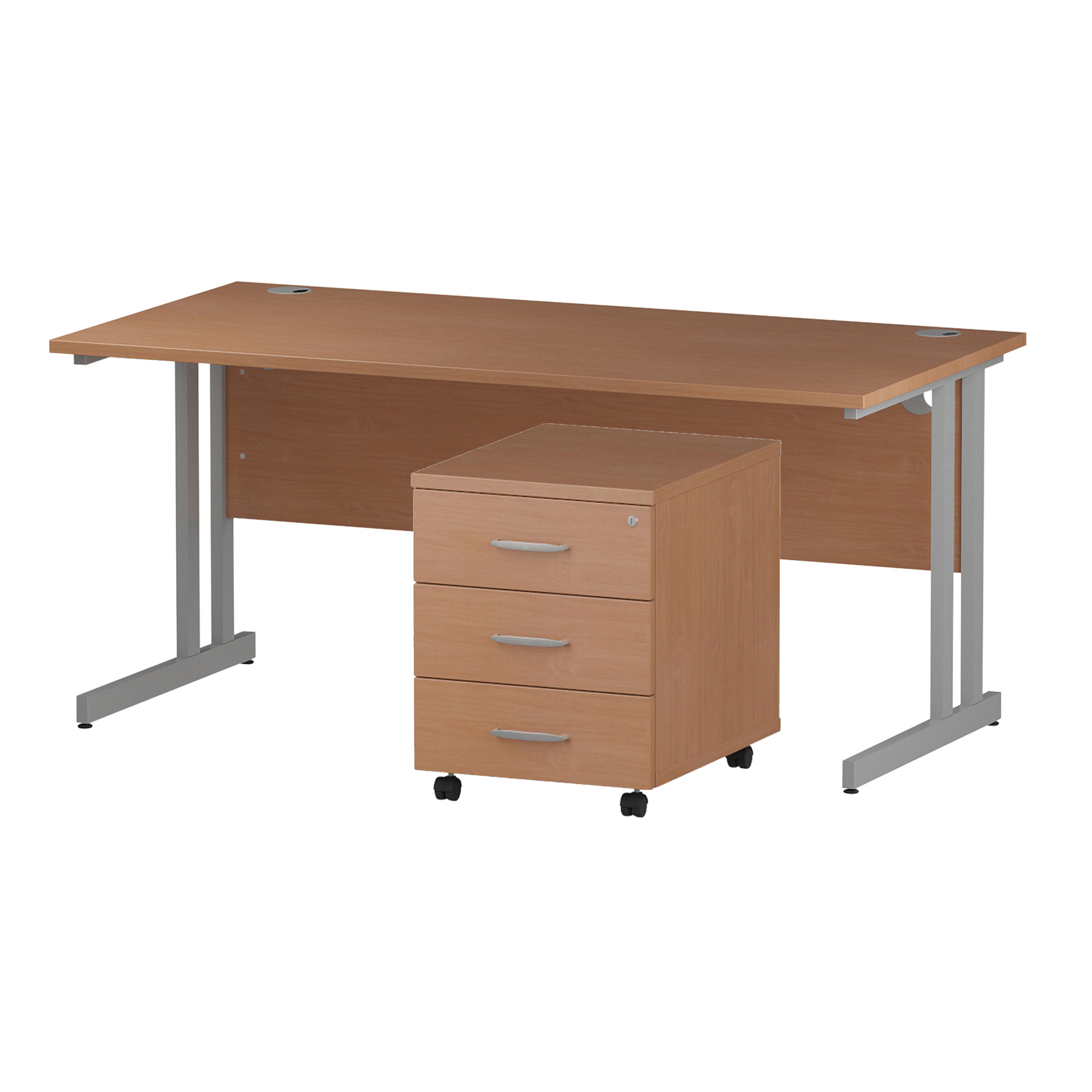 Desks Trexus Cantilever Desk 1600x800 & 3 Drawer Pedestal Beech Bundle Offer Feb-Apr 2020