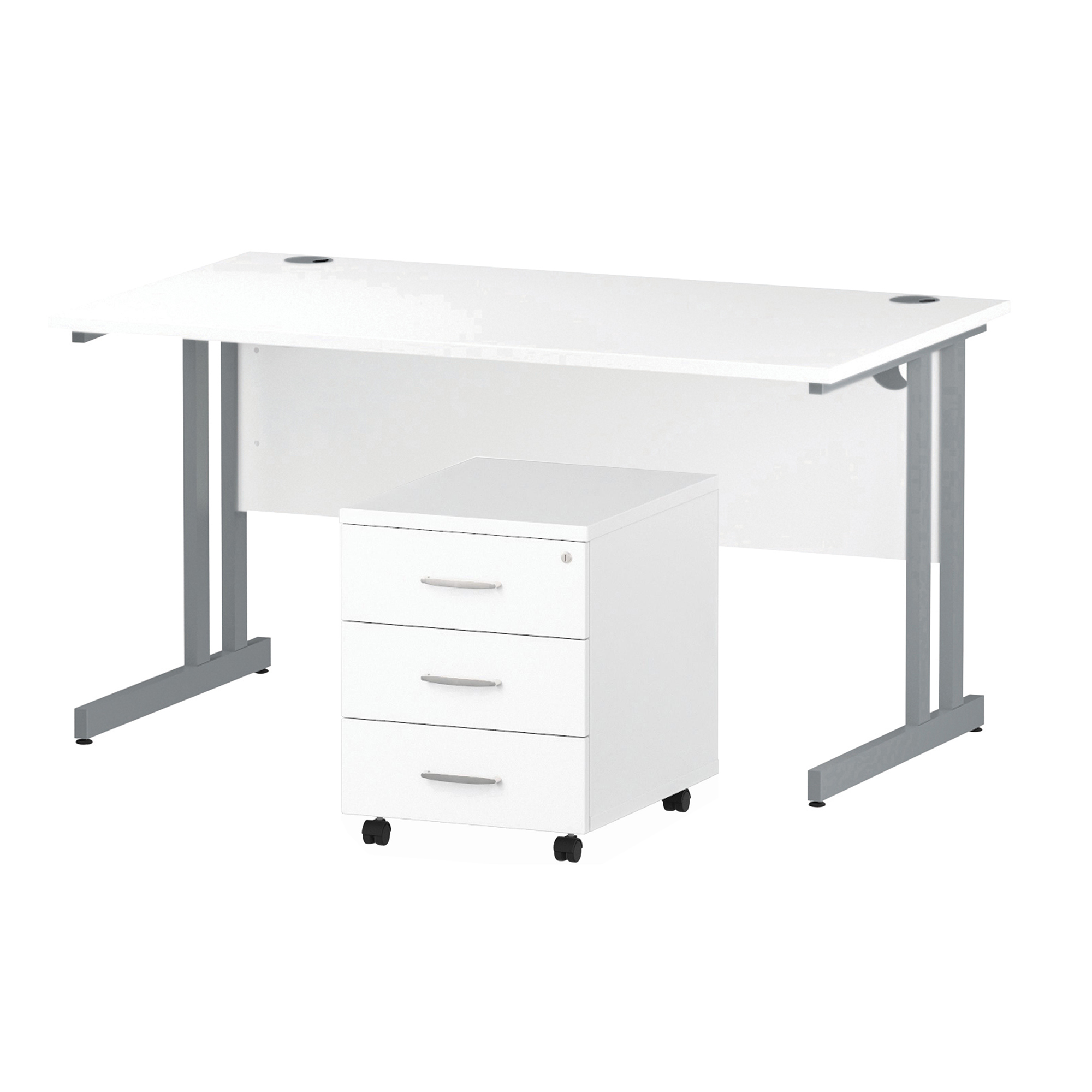 Desks Trexus Cantilever Desk 1400x800 & 3 Drawer Pedestal White Bundle Offer Feb-Apr 2020