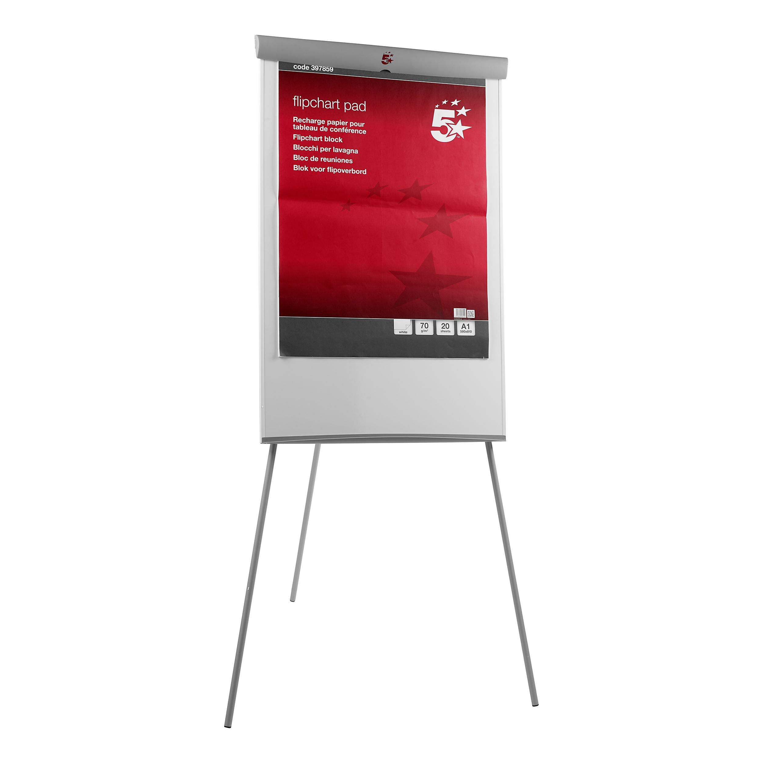 5 Star Office Flipchart Easel with W670xH990mm Board W700xD82xH1900mm Grey Trim