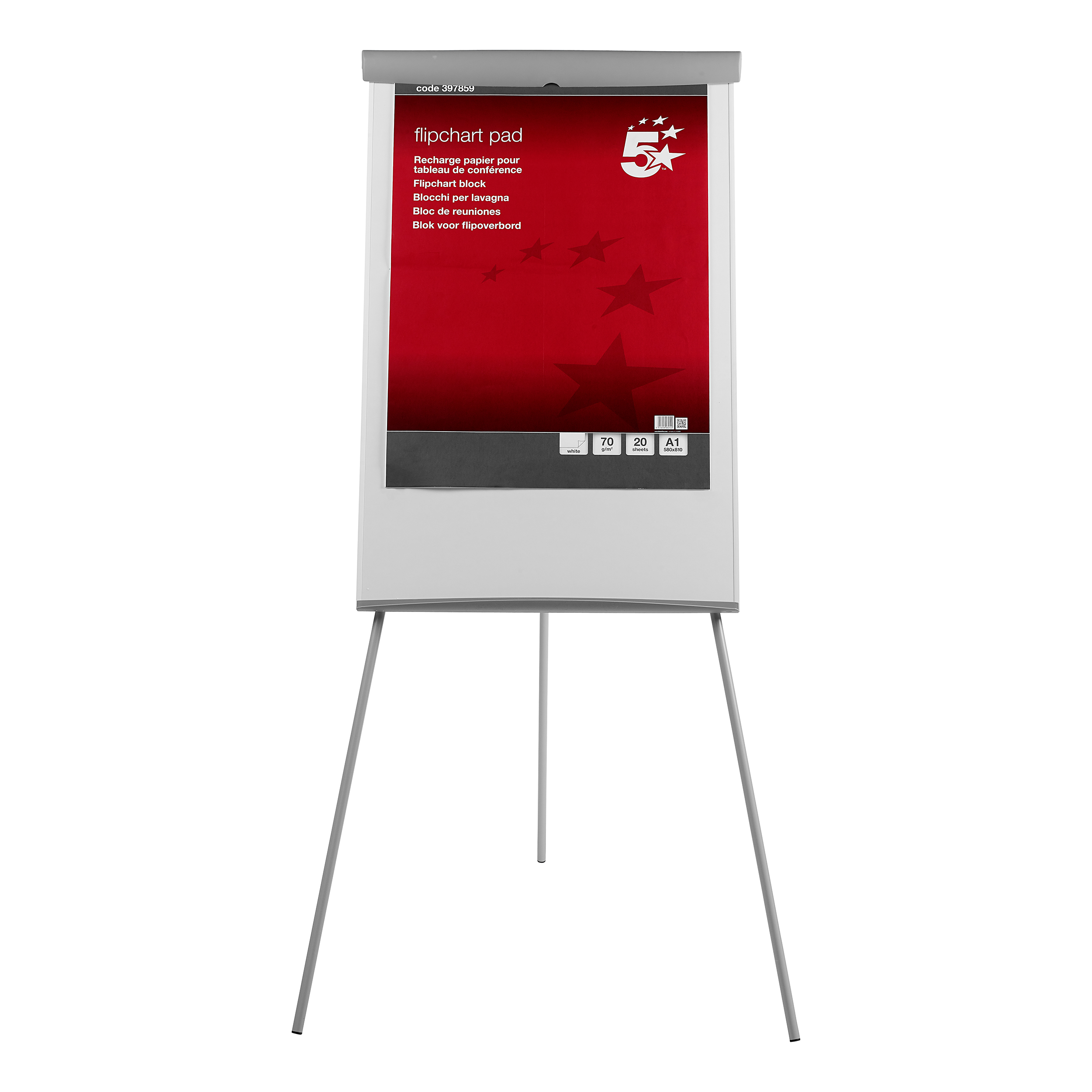 Image for 5 Star Office Flipchart Easel with W670xH990mm Board W700xD82xH1900mm