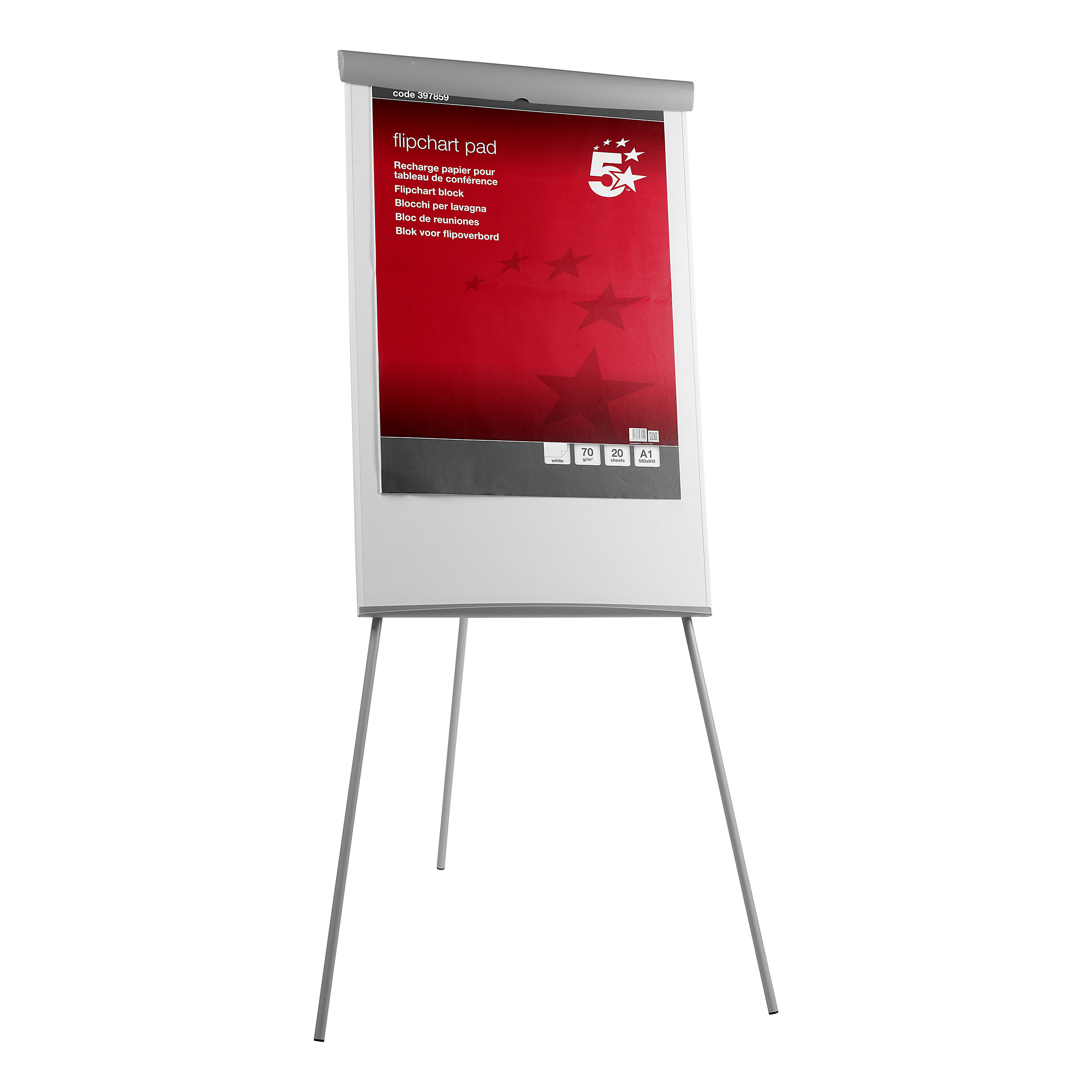 5 Star Office Flipchart Easel with W670xH990mm Board W700xD82xH1900mm