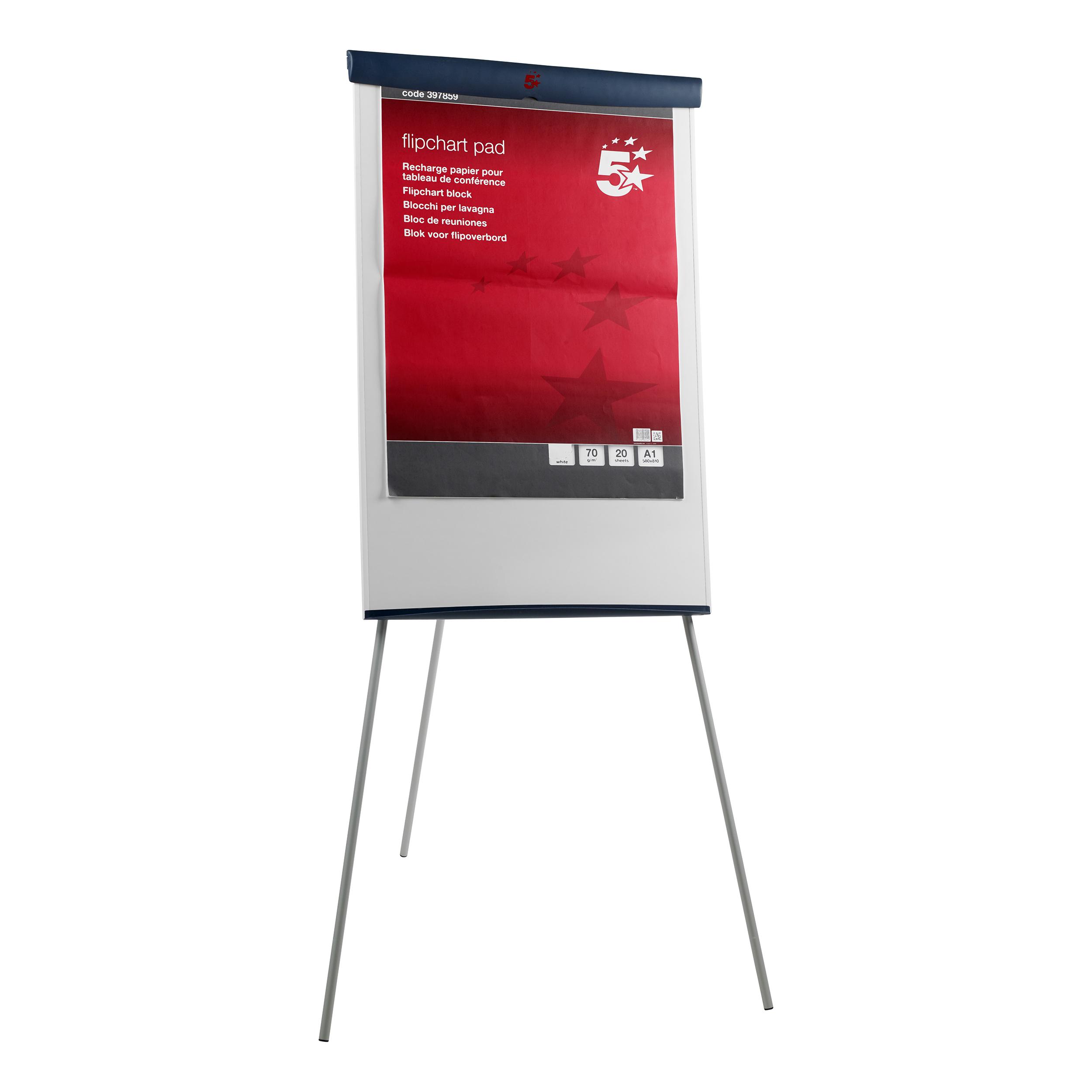 5 Star Office Flipchart Easel with W670xH990mm Board W700xD82xH1900mm Blue Trim