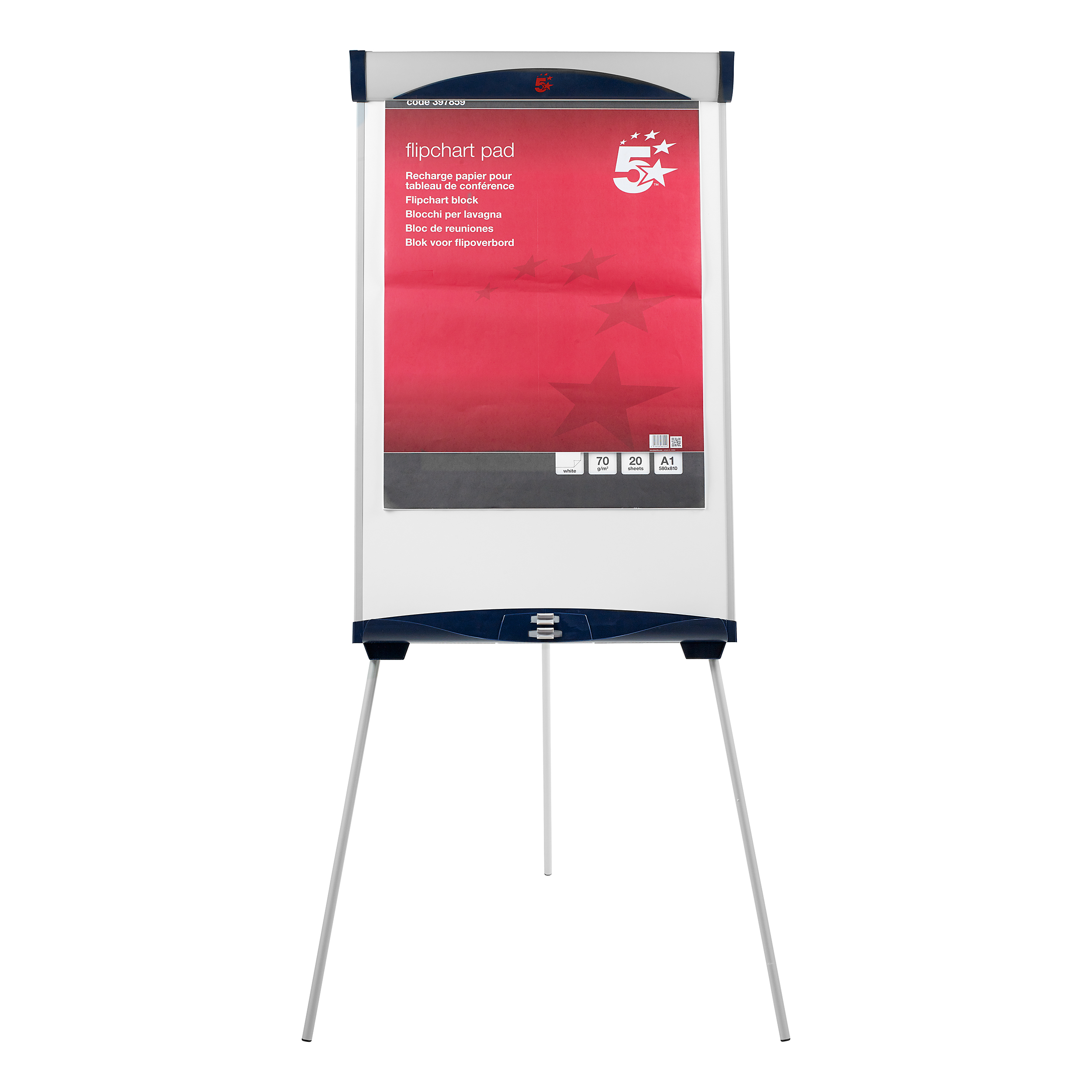 5 Star Office Easel Drywipe Magnetic with Pen Tray and Extension Arms Capacity A1 Grey