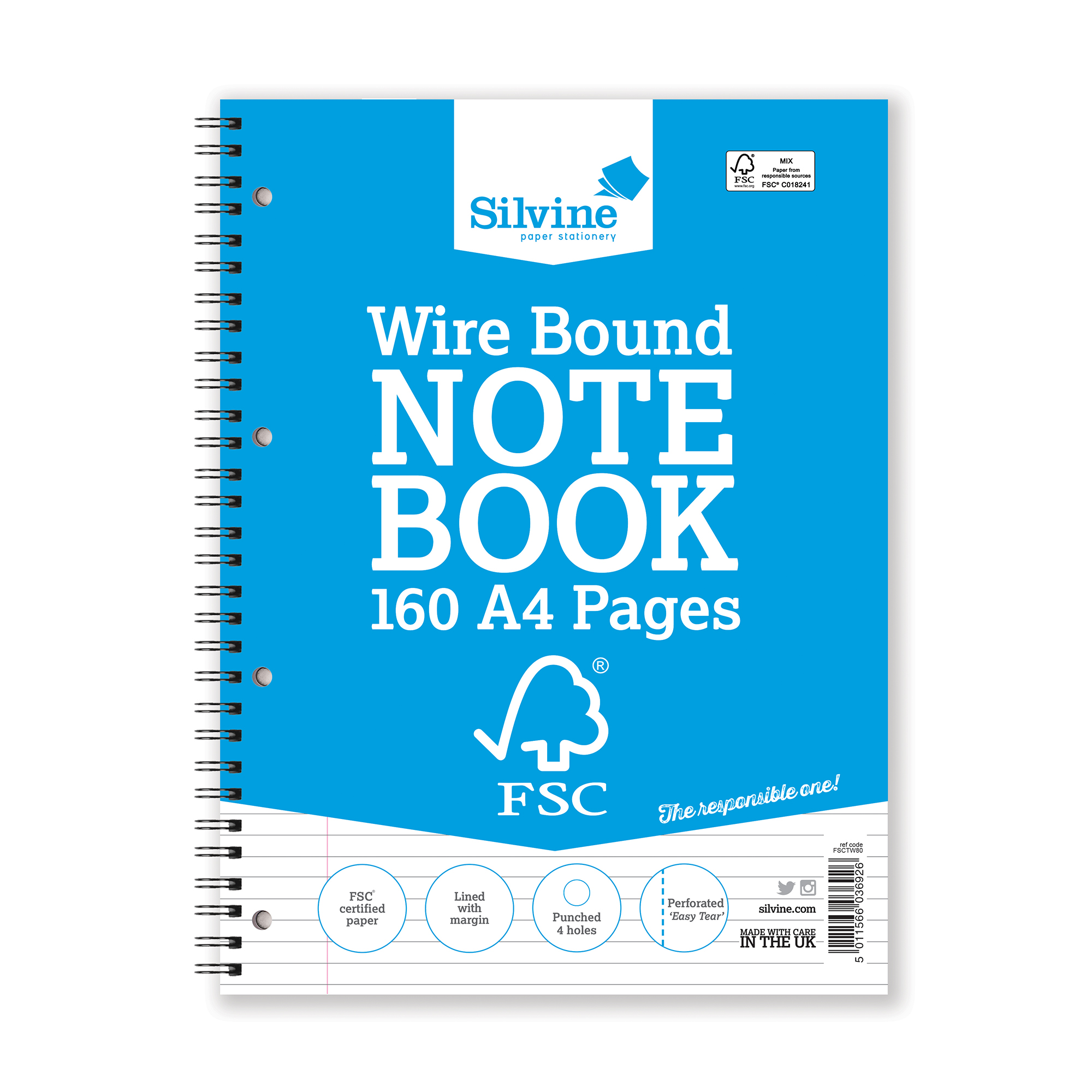 Silvine FSC Notebook Wirebnd 56gsm Ruled Margin Perforated Punched 4 Holes 160pp A4 Ref FSCTW80 Pack 5