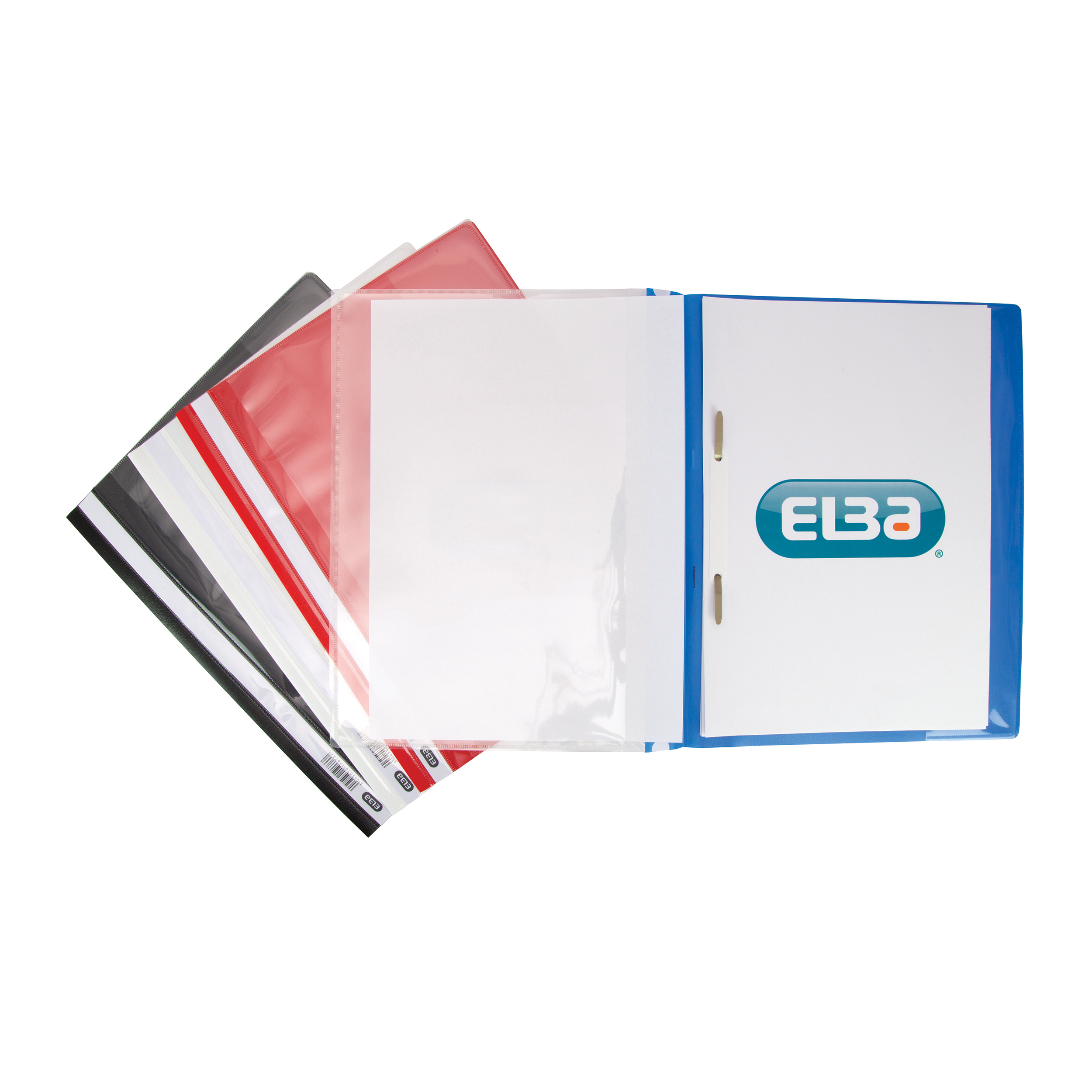 Clip Files Elba A4+ Report File Capacity 160 Sheets Clear Front A4 Black Ref 400055036 Pack 25