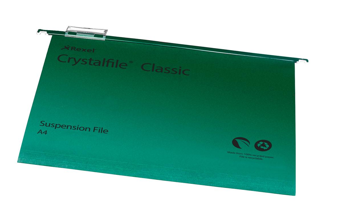 Rexel Crystalfile Classic Suspension File Manilla V-base 15mm A4 Green Ref 78045 [Pack 50]