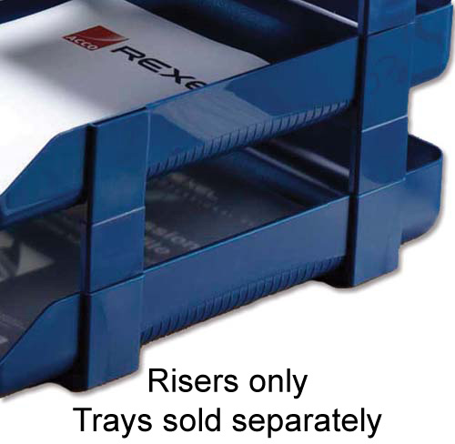 Image for Rexel Agenda Classic Risers Self-locking for Letter Trays 53mm Blue Ref 25225 [Pack 5]