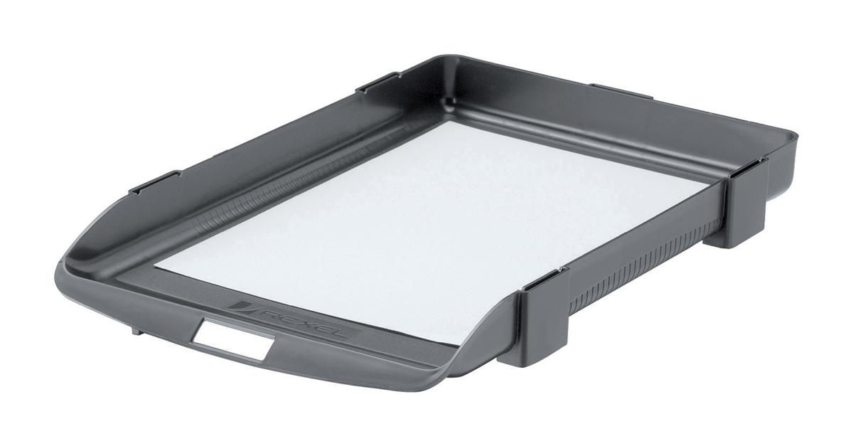 Image for Rexel Agenda Classic 35 Letter Tray Stackable Internal W382xD246xH35mm Charcoal Ref 25200