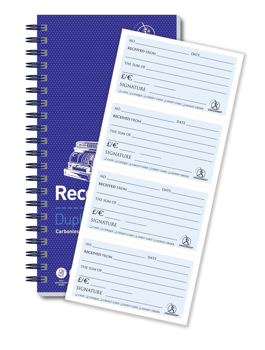 Image for Challenge Duplicate Receipt Book Wirebound 4 Sets per Page 200 Receipts 280x152mm Ref 100080056