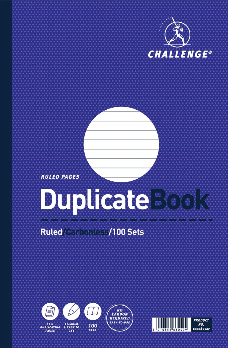 Challenge Duplicate Book Carbonless Ruled 100 Sets 297x195mm Ref 100080527 [Pack 3]