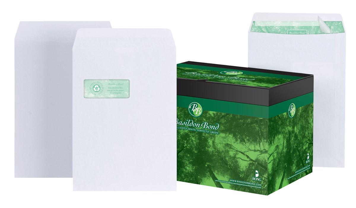 Image for Basildon Bond Envelopes Pocket Peel and Seal Window 120gsm White C4 [Pack 250]