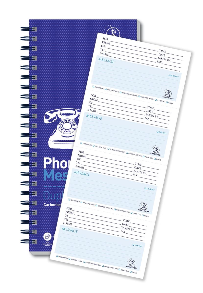 Image for Challenge Telephone Message Book Wirebound Carbonless 320 Messages 305x152mm Ref 100080054