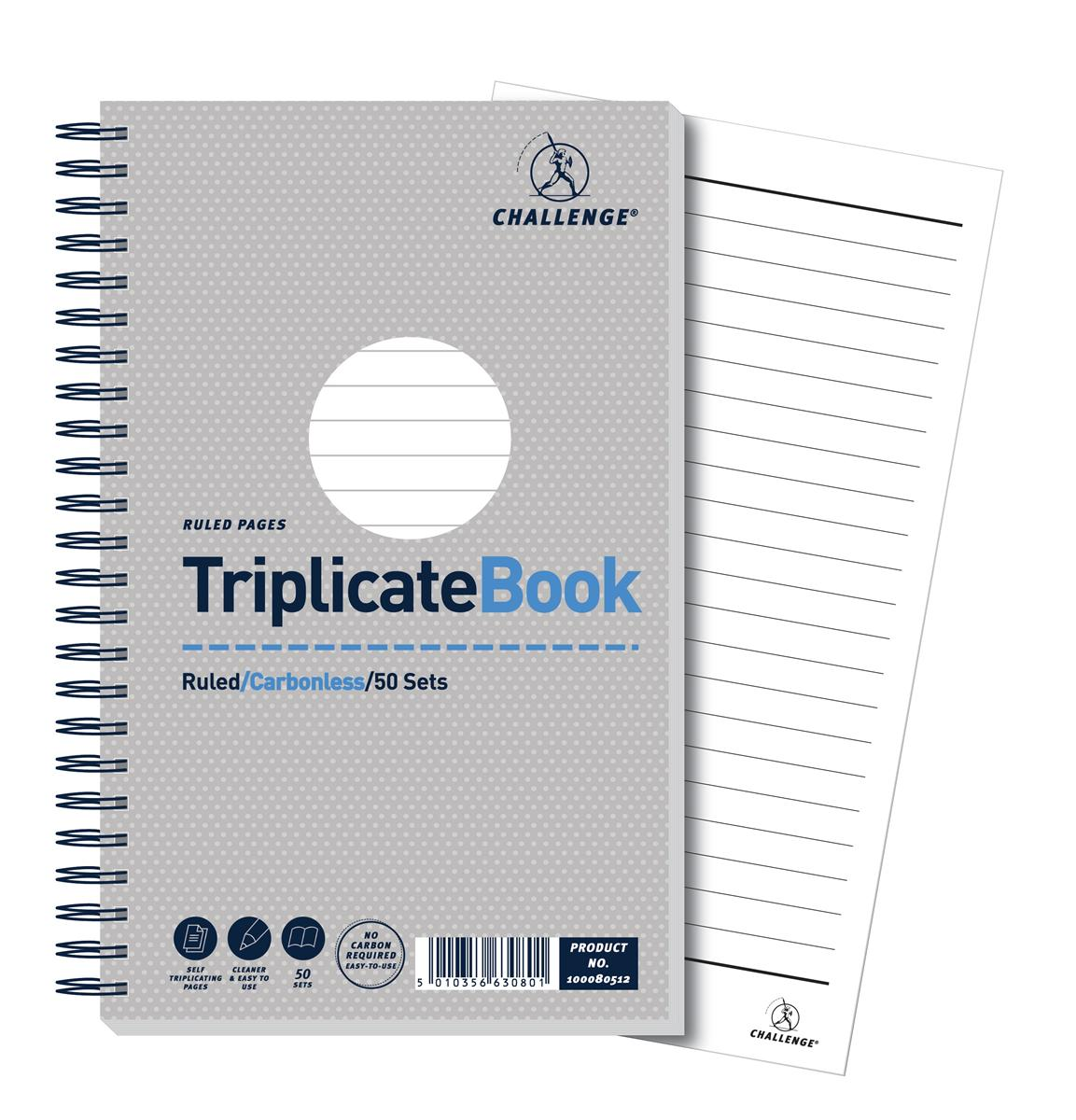 Image for Challenge Triplicate Book Carbonless Wirebound Ruled 50 Sets 210x130mm Ref 100080512 [Pack 5]