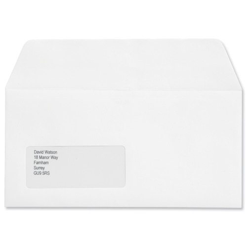 Image for Croxley Script Envelopes Wallet Peel and Seal Window Pure White DL [Pack 500]
