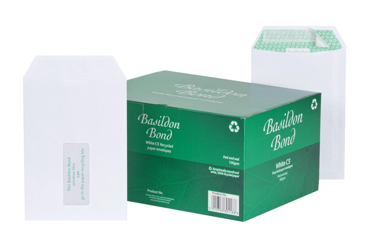 Image for Basildon Bond Envelopes Pocket Peel and Seal Window 120gsm White C5 [Pack 500]