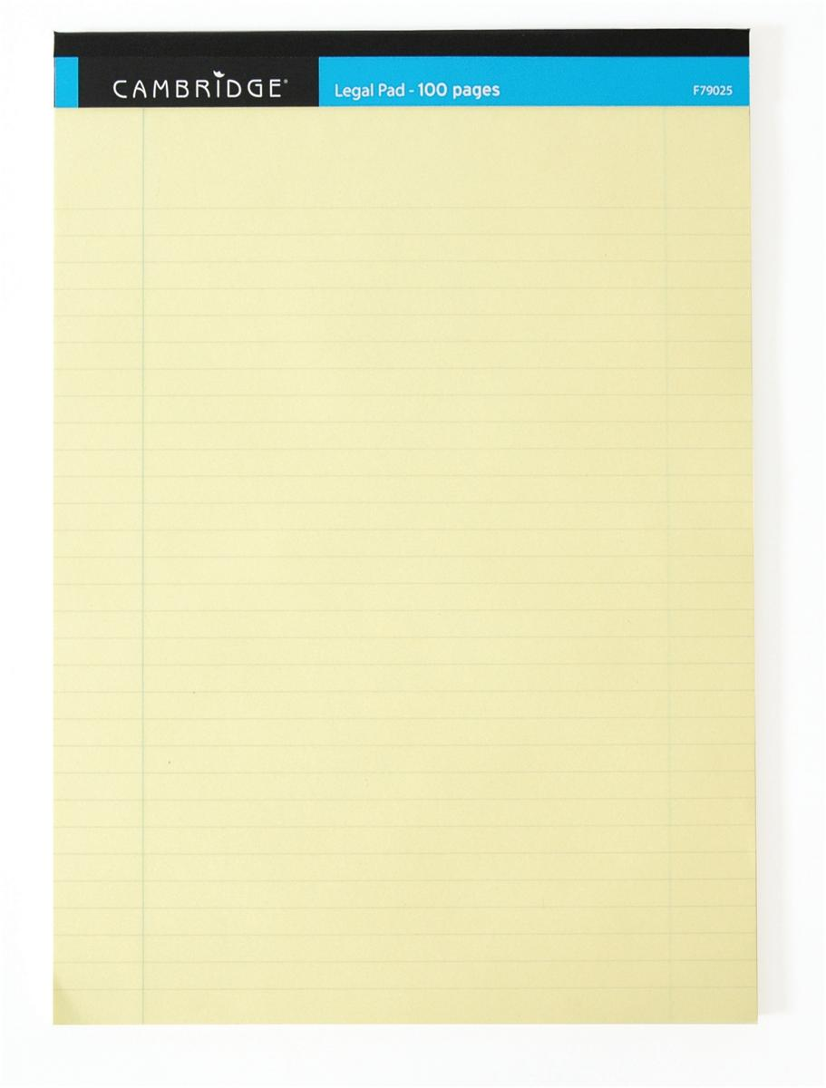 Image for Cambridge Legal Pad Perforated Tear-off Feint Ruled with Margin 100pp A4 Yellow Ref 100080179 [Pack 10]
