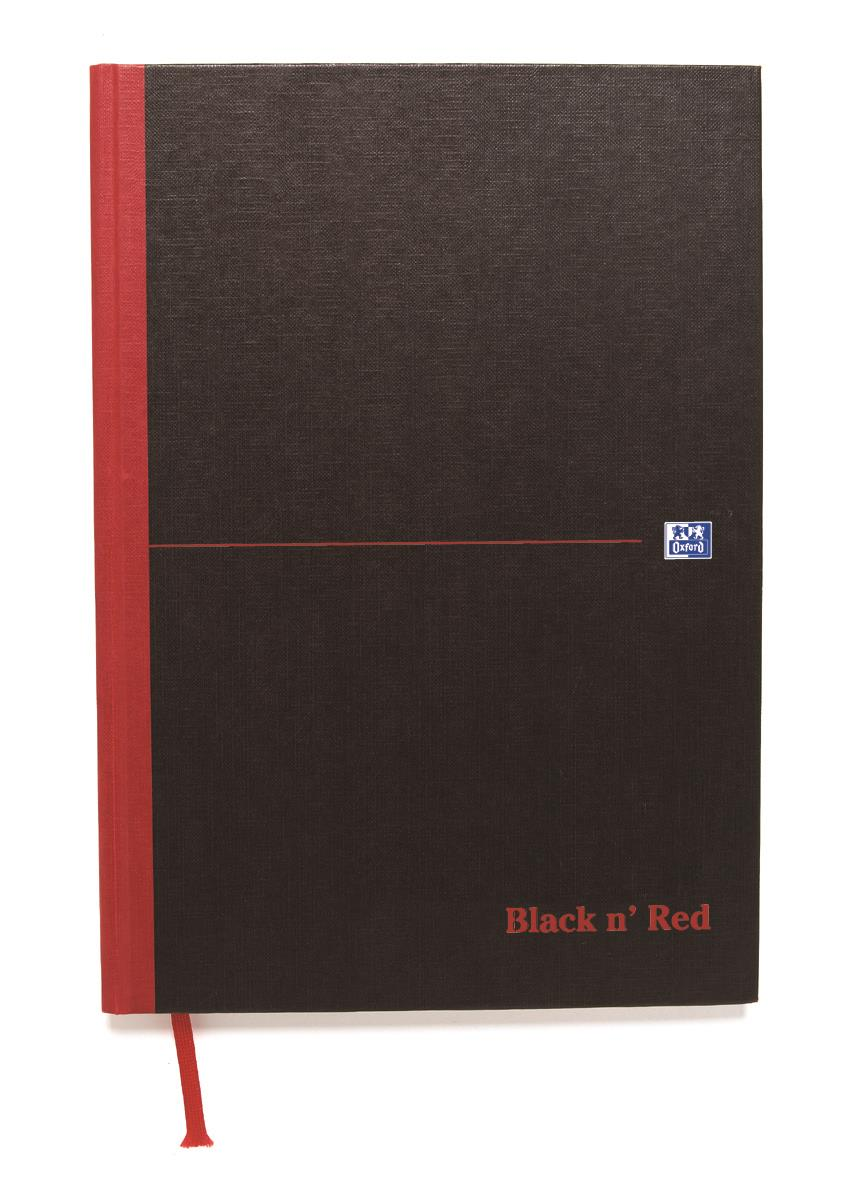 Image for Black n Red Book Casebound 90gsm Narrow Ruled 192pp A4 Ref 100080474 [Pack 5]