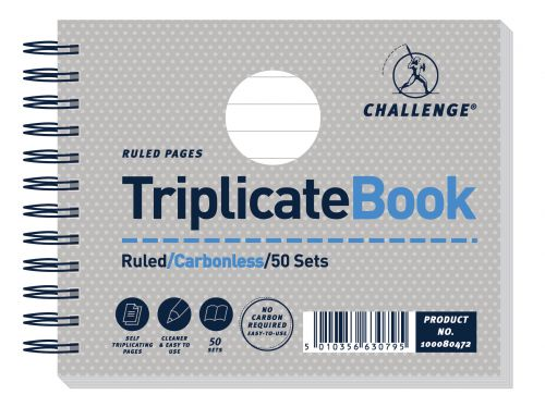 Image for Challenge Triplicate Book Carbonless Wirebound Ruled 50 Sets 105x130mm Ref 100080472 [Pack 5]