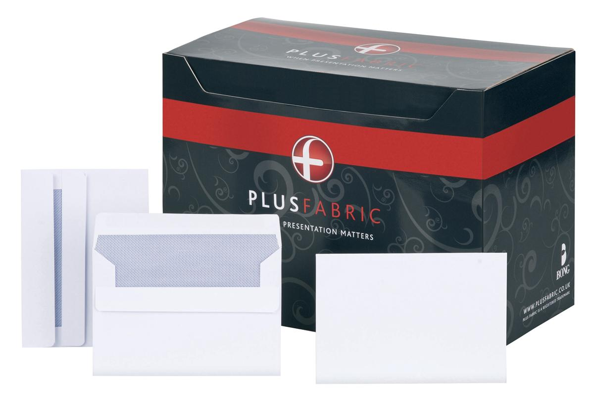 Image for Plus Fabric Envelopes Wallet Press Seal 110gsm C6 White [Pack 500]
