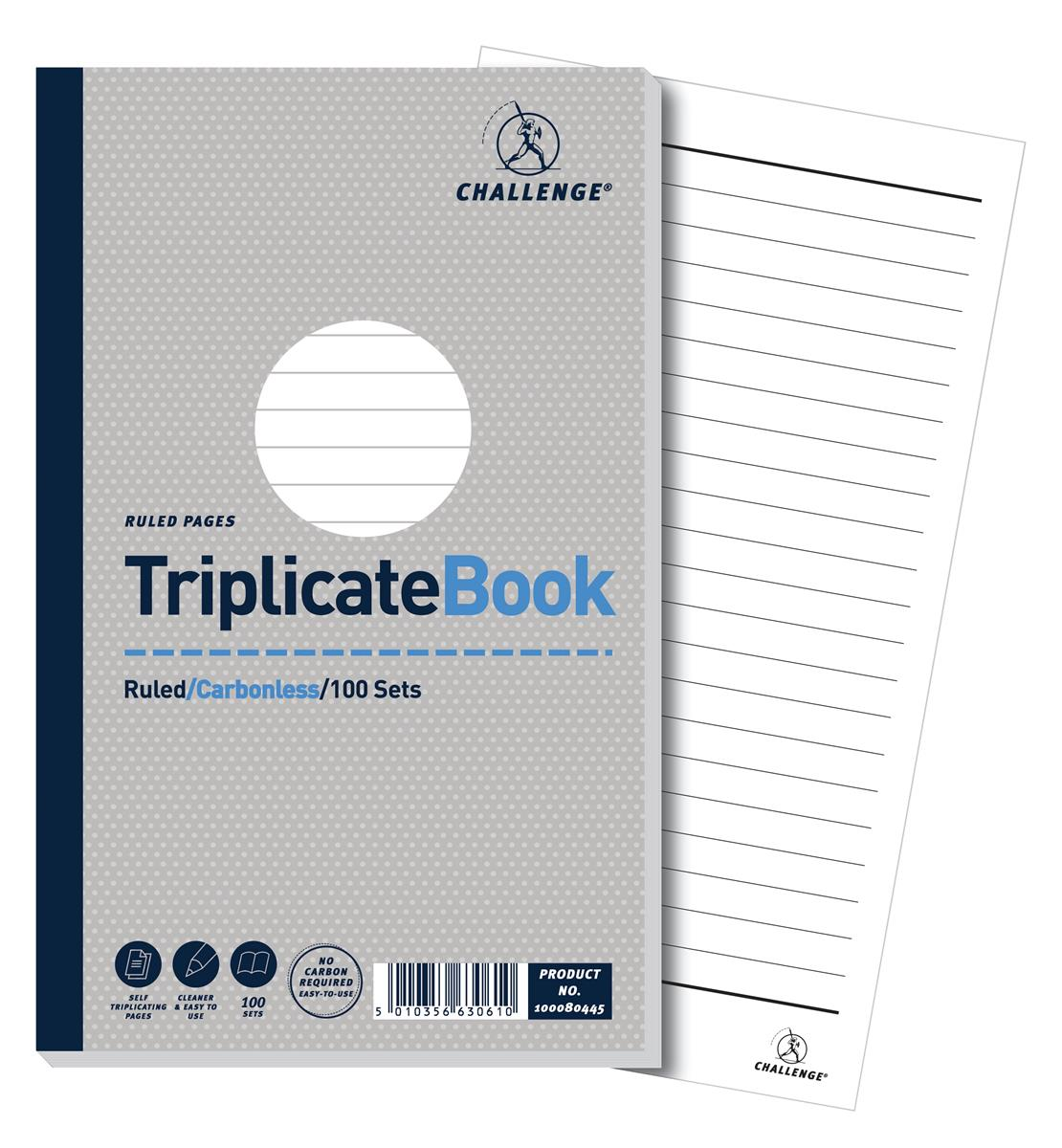Image for Challenge Triplicate Book Carbonless Ruled 100 Sets 210x130mm Ref 100080445 [Pack 5]