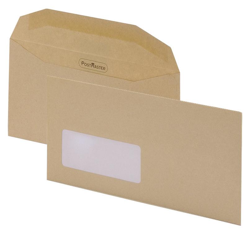 Image for Postmaster Envelopes Wallet Gummed with Window 80gsm Manilla DL [Pack 500]