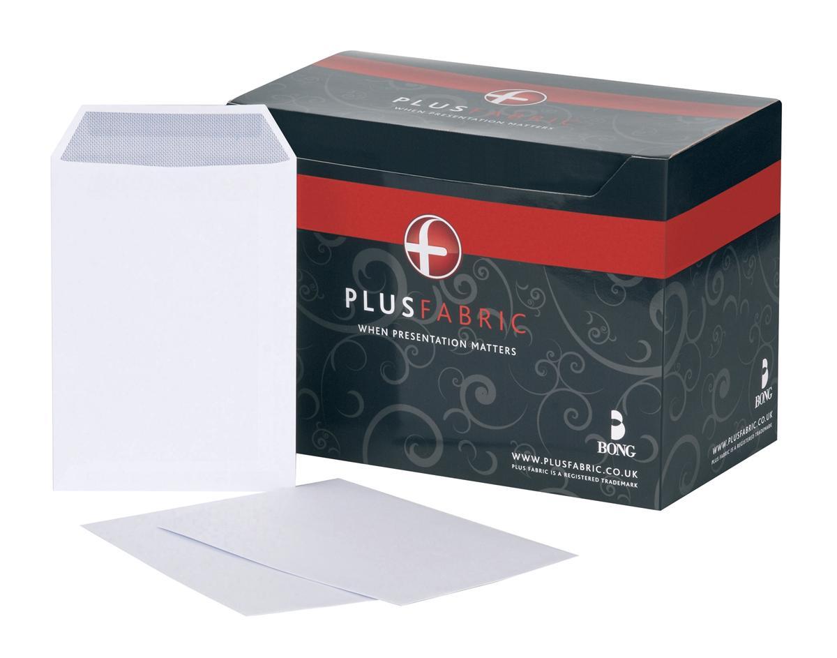 Image for Plus Fabric Envelopes Pocket Press Seal 110gsm C5 White [Pack 250]