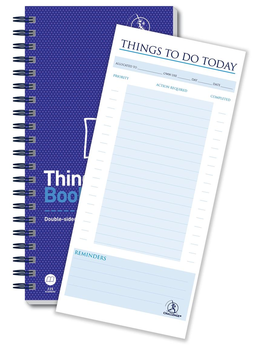 Image for Challenge Planning Book Things to do Today Wirebound Perforated 115pp 280x141mm Ref 100080050